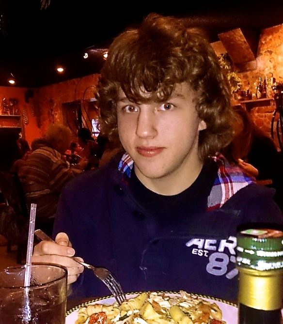 Brandon at one of his father's favorite restaurants.